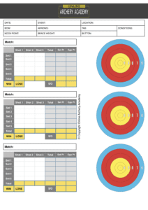 outdoor individual olympic round archery scoresheet with target plot