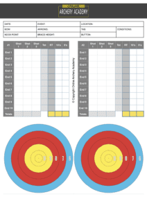archery scoresheet for indoors with target plot