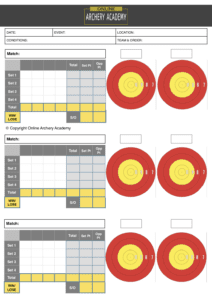 free mixed team archery scoresheet with plot