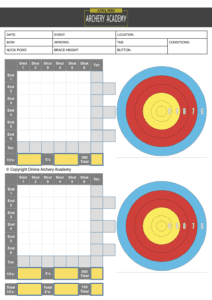 free outdoor archery scoresheet with target plot