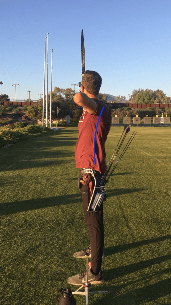 bad recurve archery posture with arched back