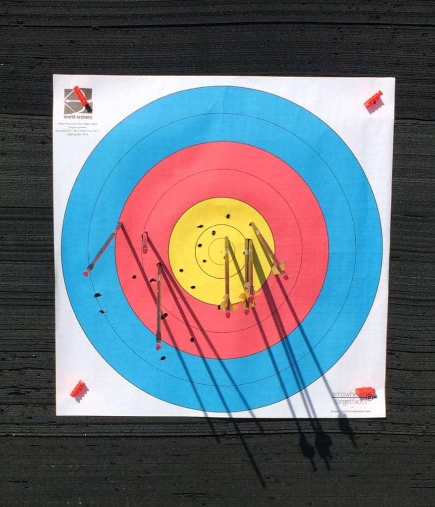 Recurve bareshaft tuning showing stiff arrow