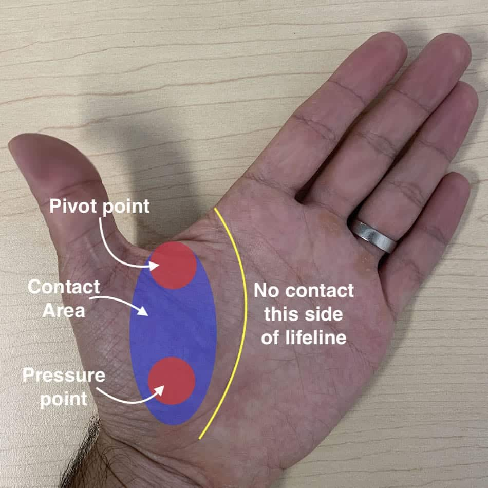 bow hand showing pressure point position for recurve archery grip