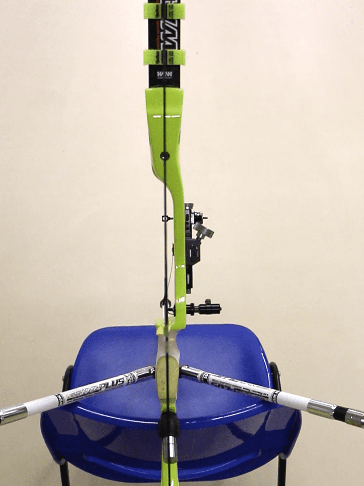Recurve bow showing limb alignment process for basic tuning