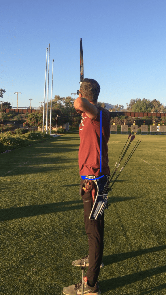 good recurve archery posture with flat back