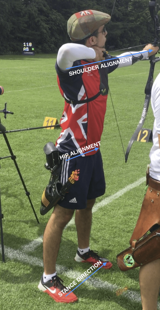 recurve archer showing foot position when using a square stance