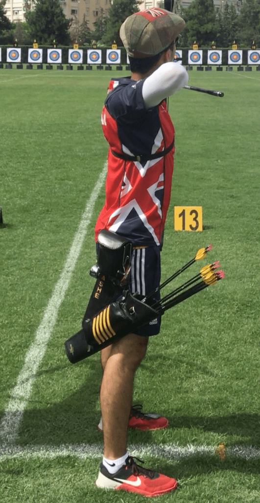 recurve archer showing the foot position for a square stance