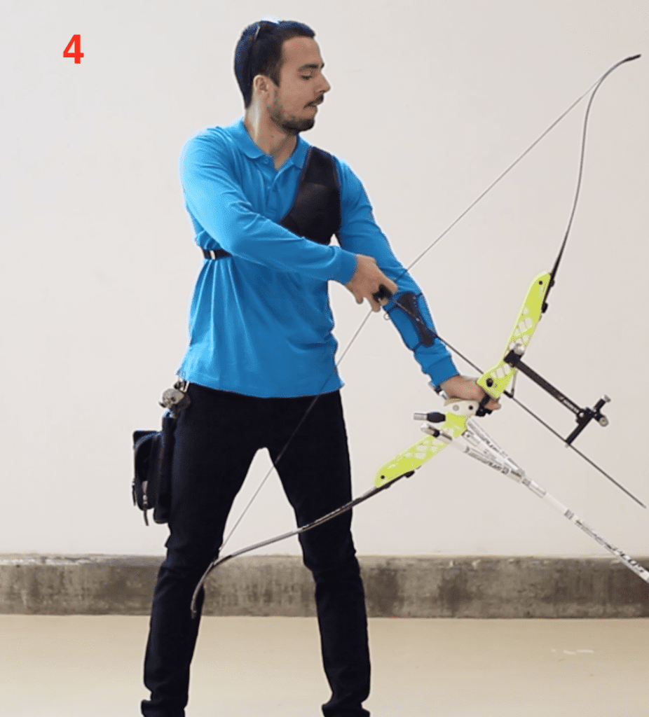 recurve archer showing set position