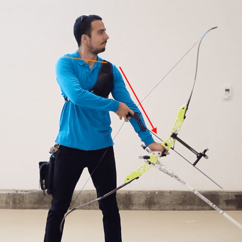 recurve set position showing good posture and shoulder position