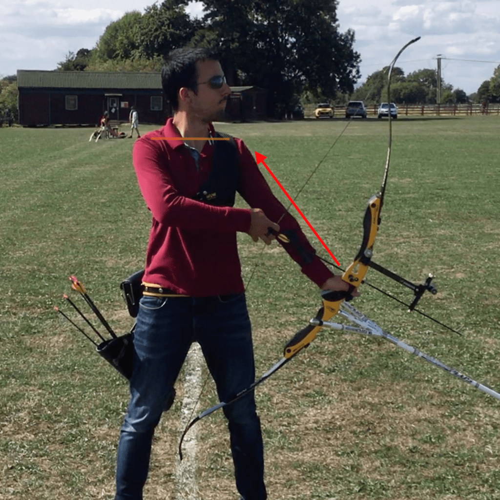 recurve set position showing elevated rib cage and losing core