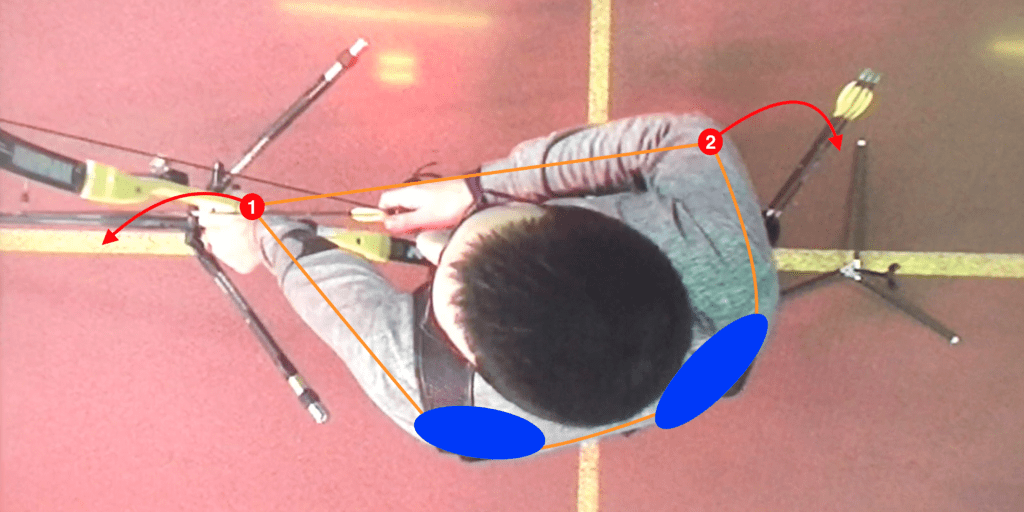 recurve set position showing the connection between the hook, grip and shoulders