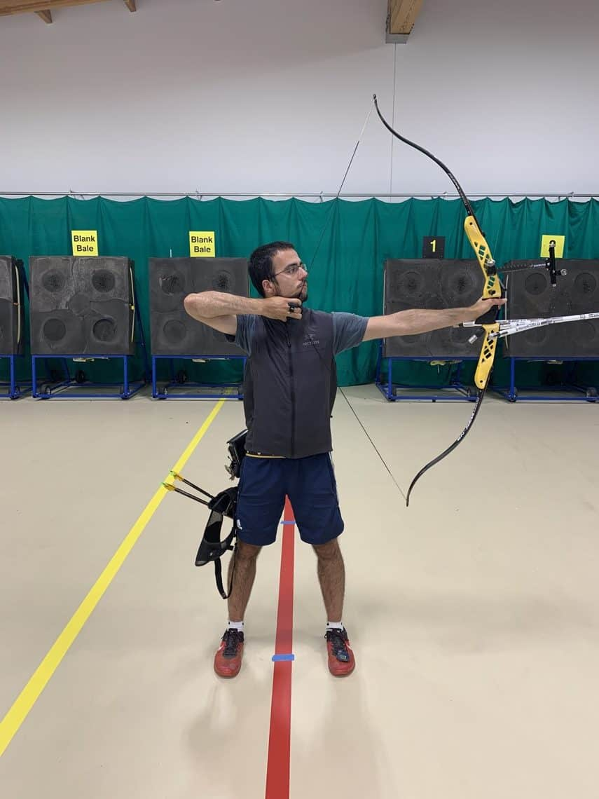 recurve archer showing full draw holds bow training