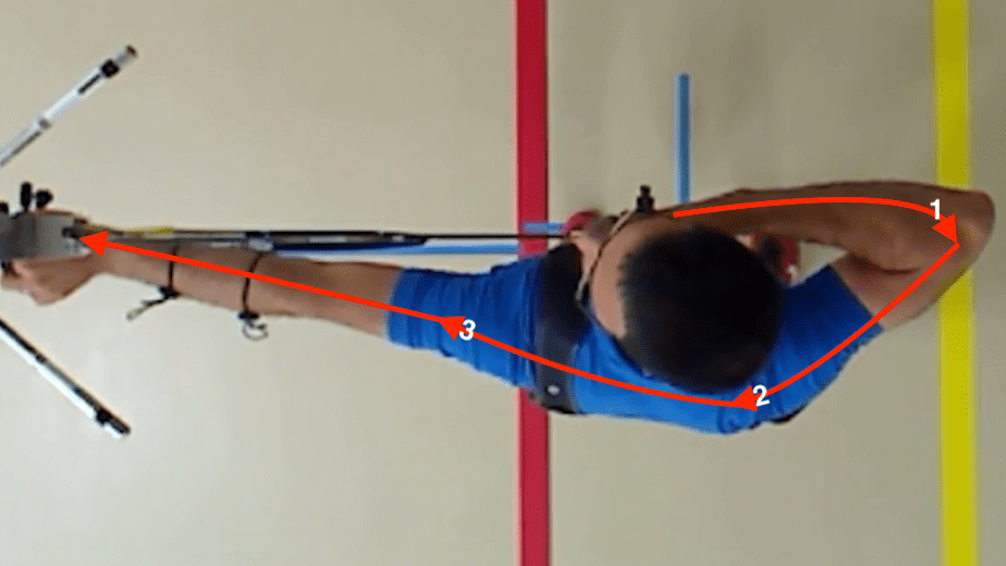 recurve archery expansion technique as viewed from overhead