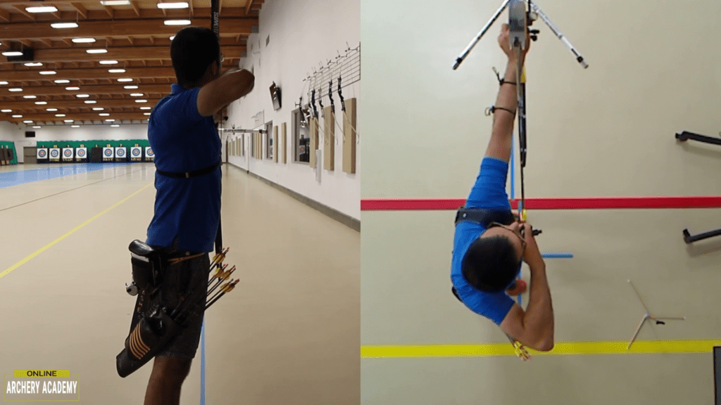 recurve set up position showing lowering the bow