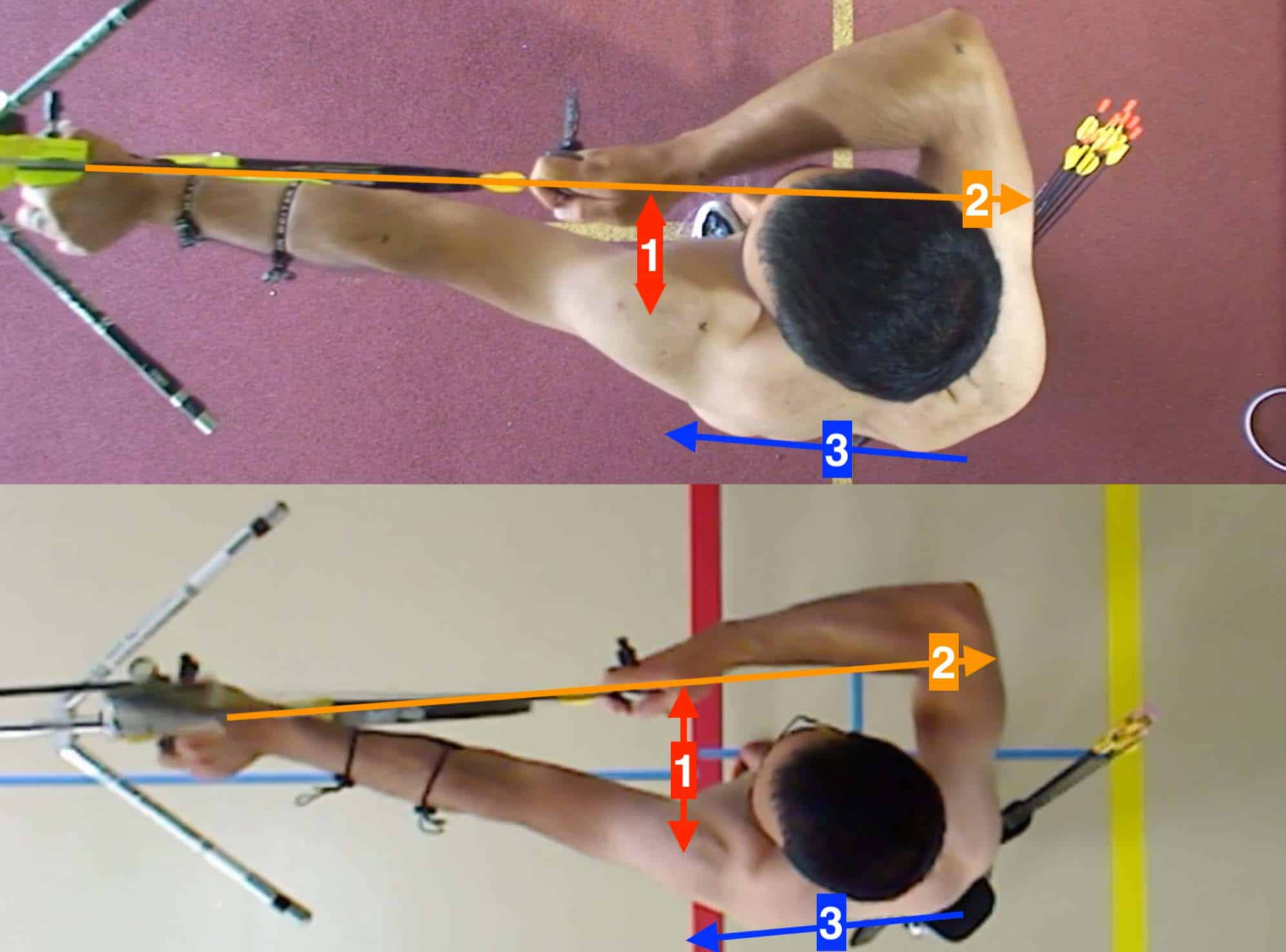 overhead comparison of recurve draw shoulder position and opening the bow