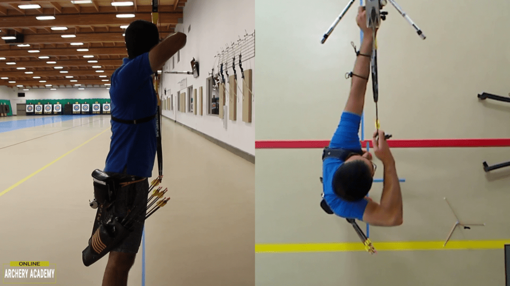 recurve set up showing peak bow height and shoulder alignment