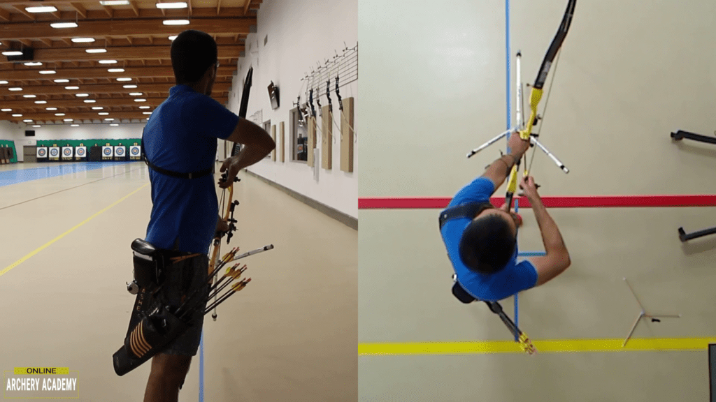 recurve olympic archery set up showing raising and opening the bow