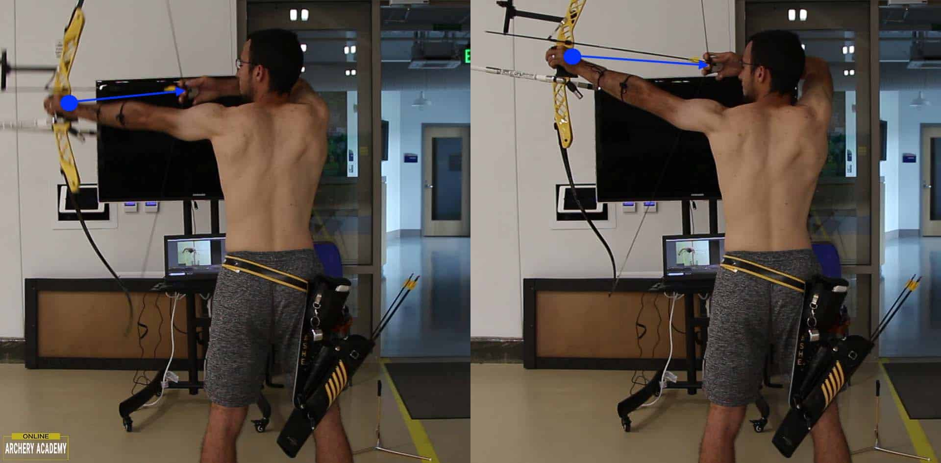 recurve set-up comparison showing draw force into bow shoulder