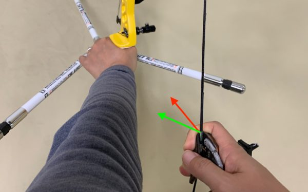 recurve archer showing hooking direction on the string with finger pressure